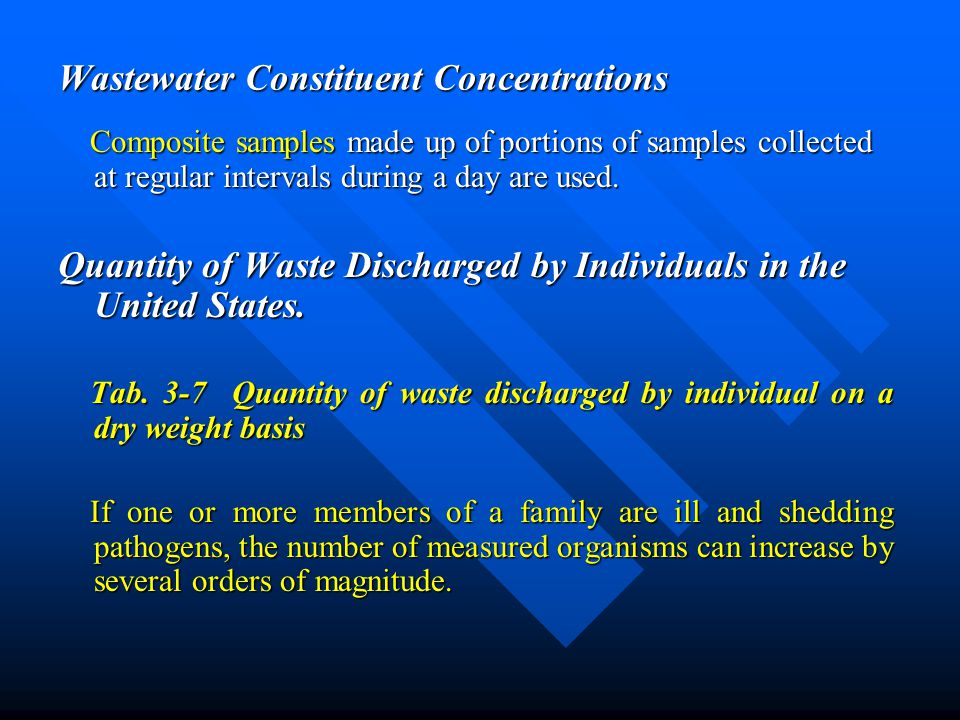 Wastewater Constituent Concentrations