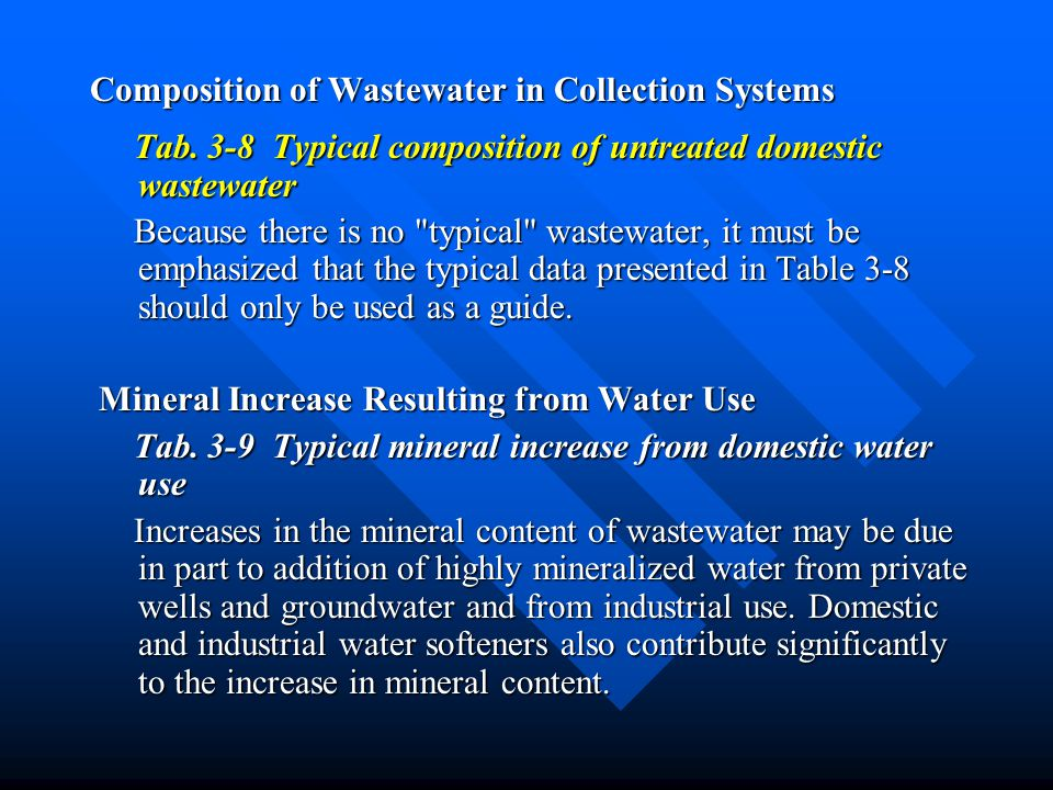 Composition of Wastewater in Collection Systems
