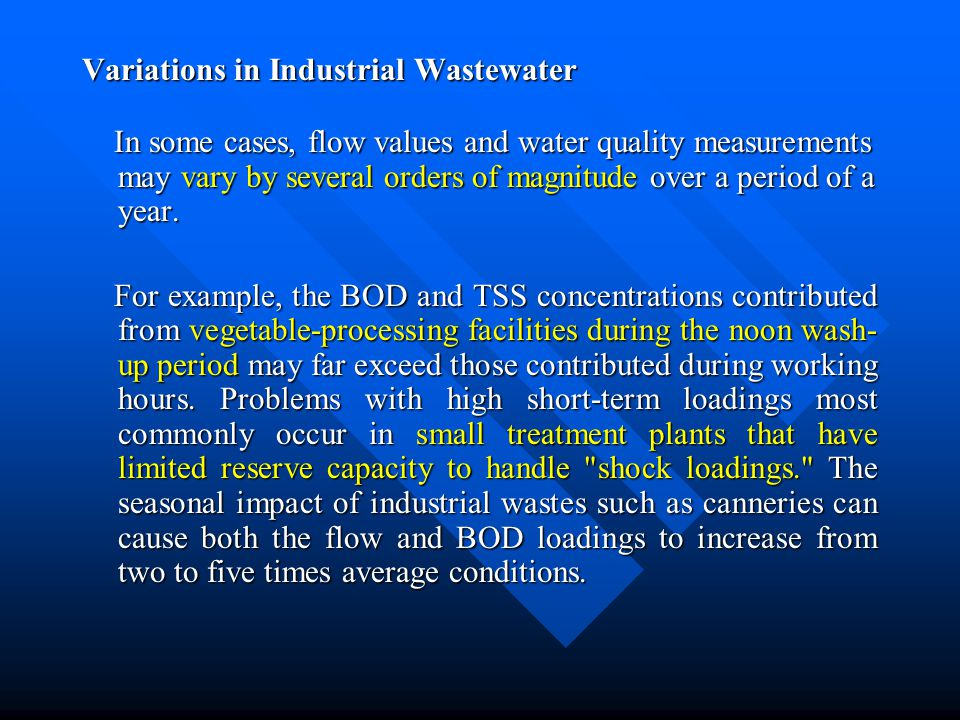 Variations in Industrial Wastewater