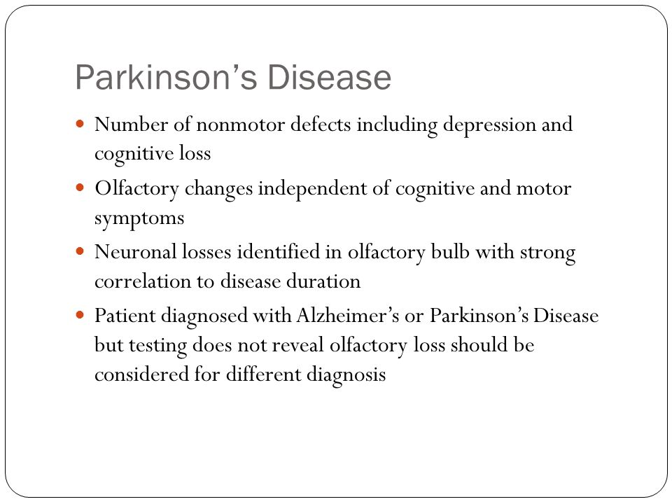 Parkinson's Disease Number of nonmotor defects including depression and cognitive loss.
