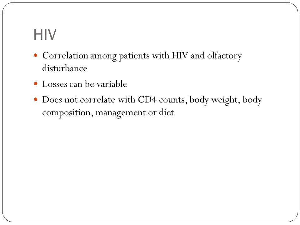 HIV Correlation among patients with HIV and olfactory disturbance