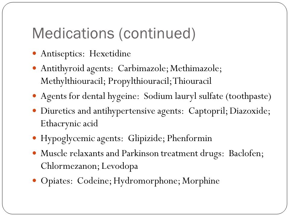 Medications (continued)