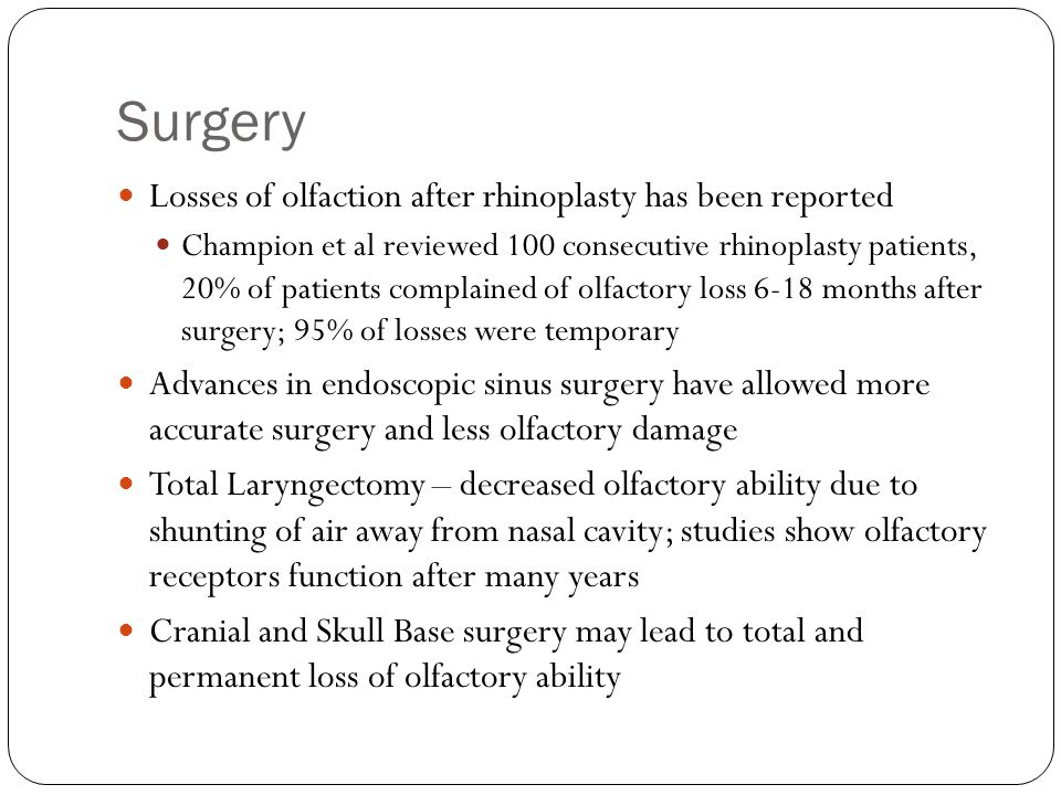 Surgery Losses of olfaction after rhinoplasty has been reported