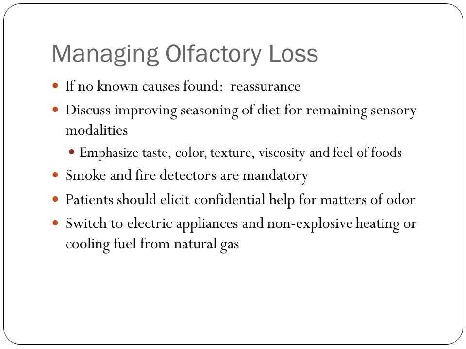 Managing Olfactory Loss