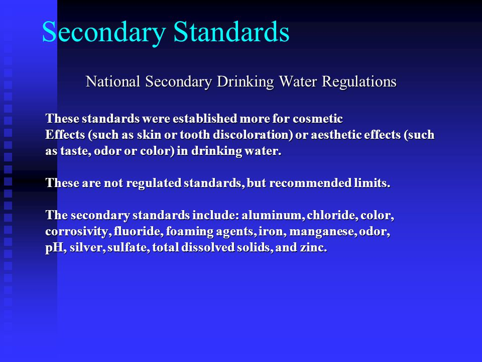 National Secondary Drinking Water Regulations