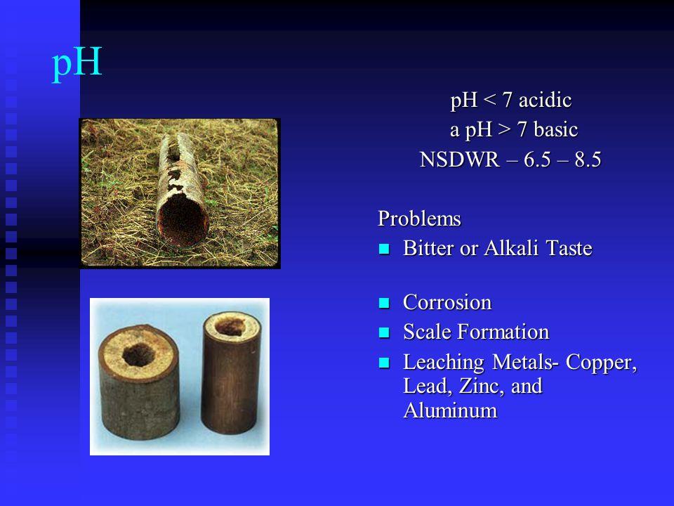 pH pH < 7 acidic a pH > 7 basic NSDWR – 6.5 – 8.5 Problems
