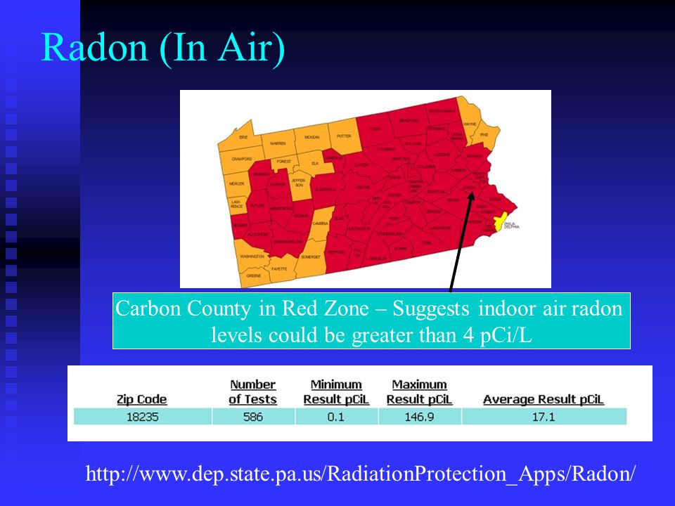 Radon (In Air) Carbon County in Red Zone – Suggests indoor air radon levels could be greater than 4 pCi/L.