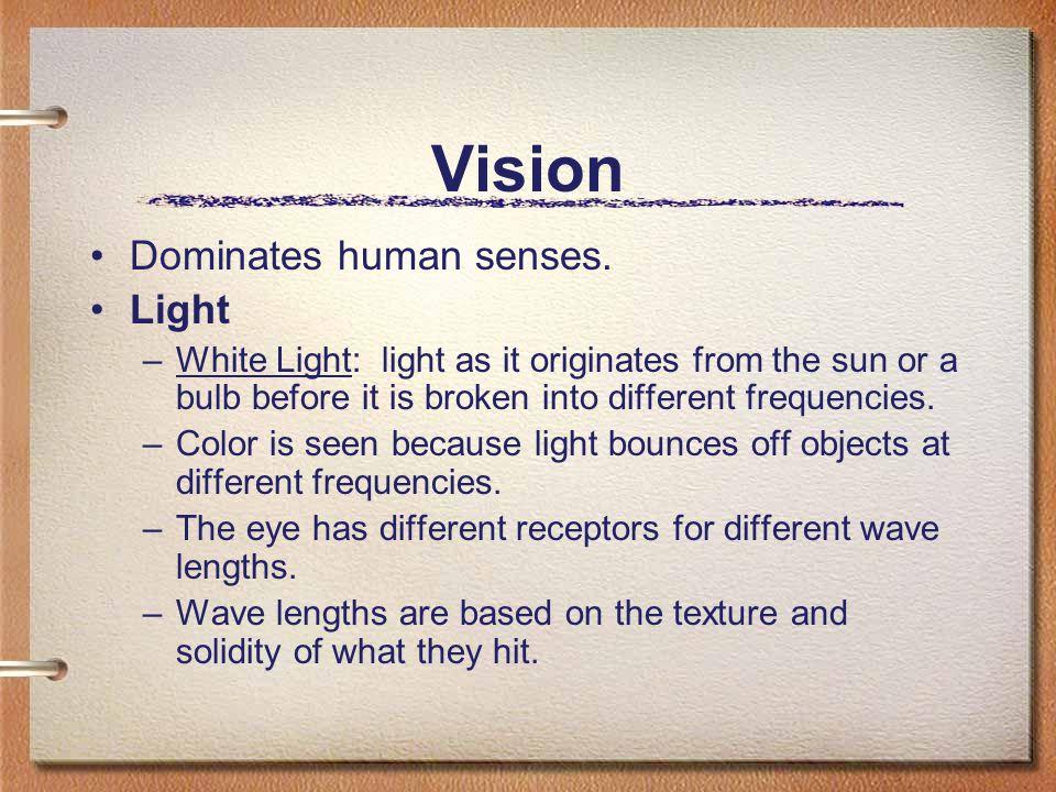 Vision Dominates human senses. Light