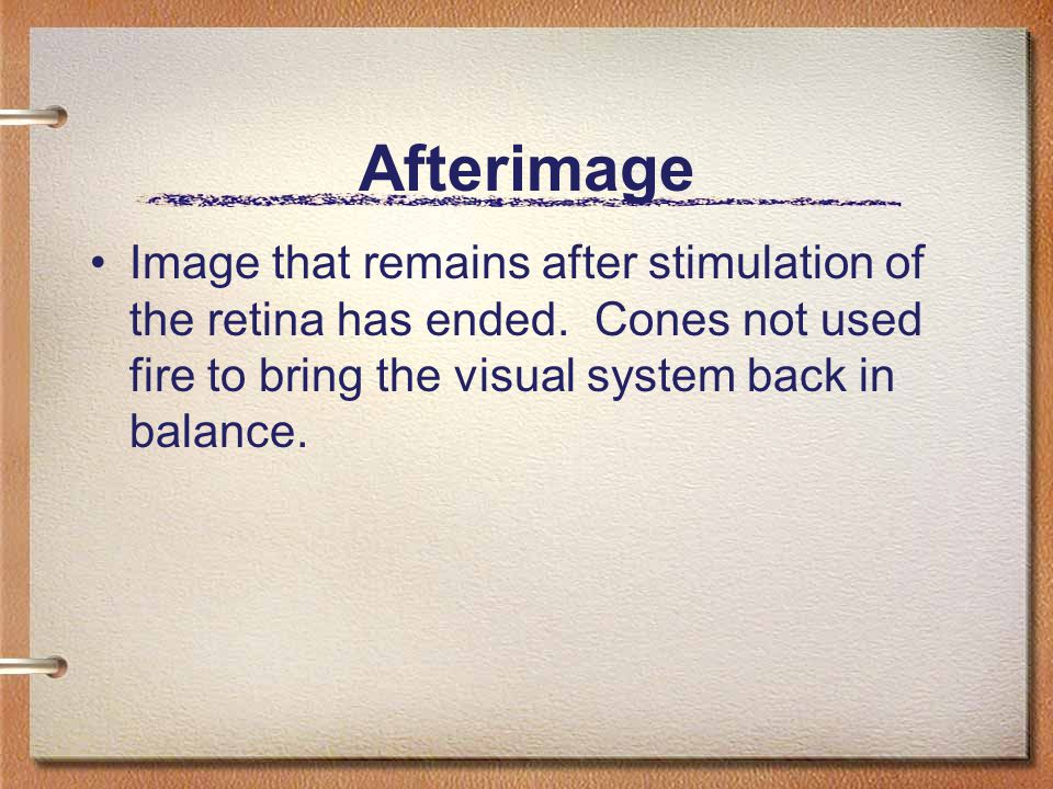 Afterimage Image that remains after stimulation of the retina has ended.