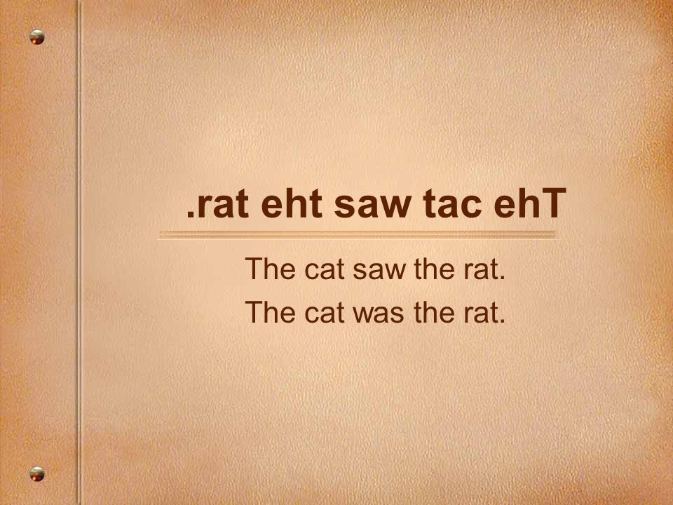 The cat saw the rat. The cat was the rat.