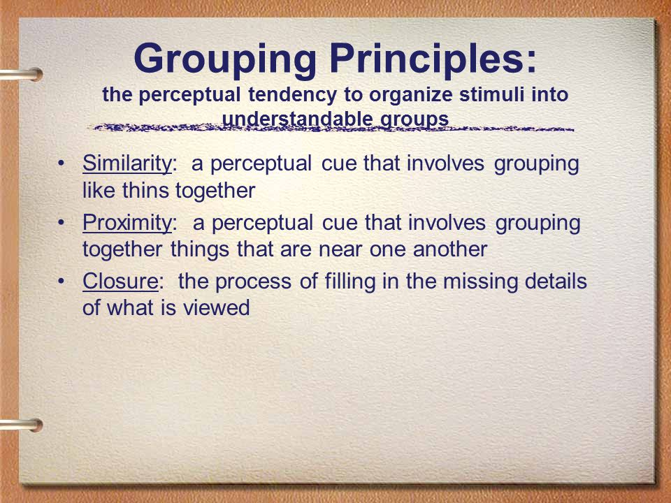 Grouping Principles: the perceptual tendency to organize stimuli into understandable groups