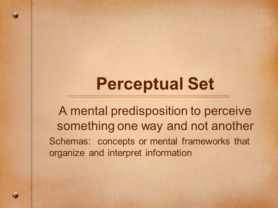A mental predisposition to perceive something one way and not another