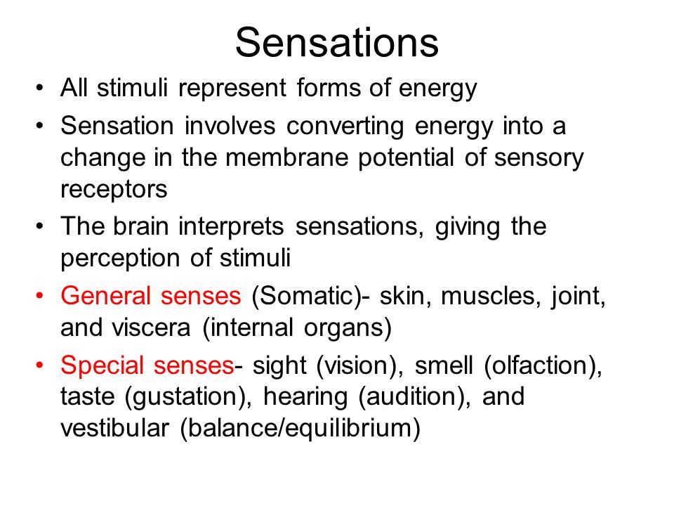 Sensations All stimuli represent forms of energy