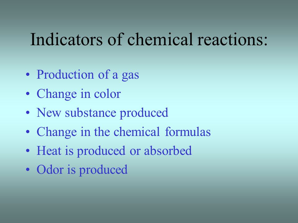Indicators of chemical reactions: