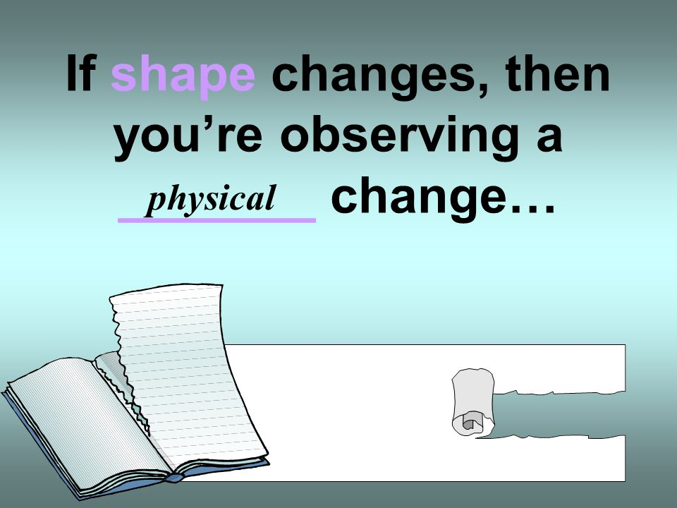 If shape changes, then you're observing a _______ change…