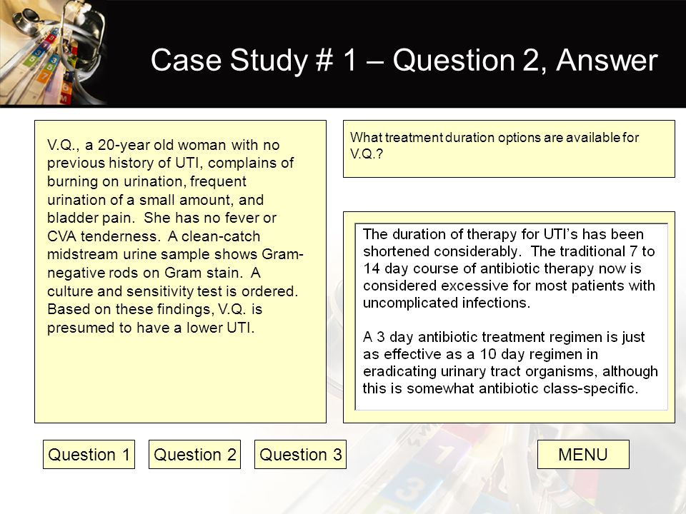 case studies and question answers Case study questions human immunodeficiency virus infection at risk for hiv disease patient profile emilio, a 20-year-old hispanic male college student, comes to the student health center with pain on urination subjective data.