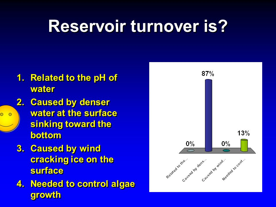 Reservoir turnover is Related to the pH of water