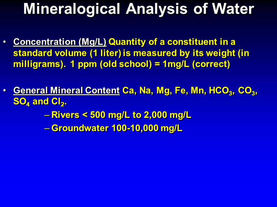 Mineralogical Analysis of Water