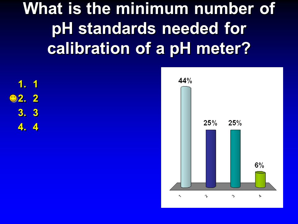 What is the minimum number of pH standards needed for calibration of a pH meter