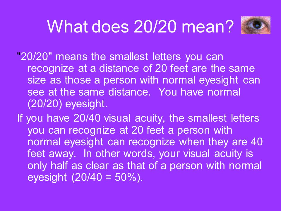 What does 20/20 mean