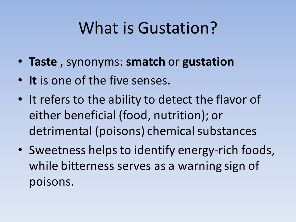 What is Gustation Taste , synonyms: smatch or gustation