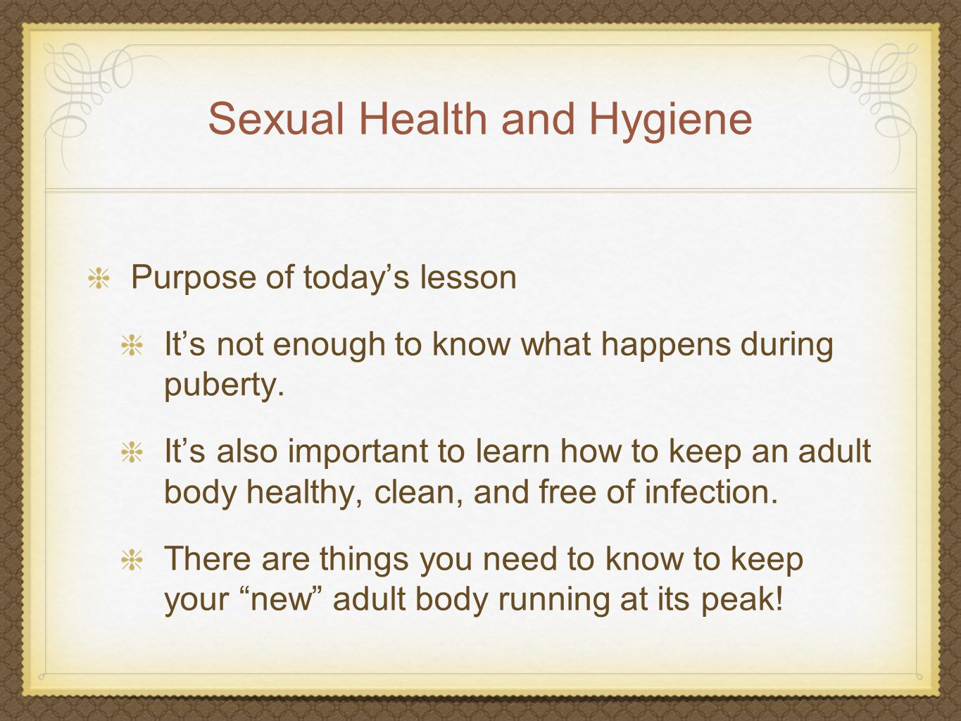 Sexual Health and Hygiene