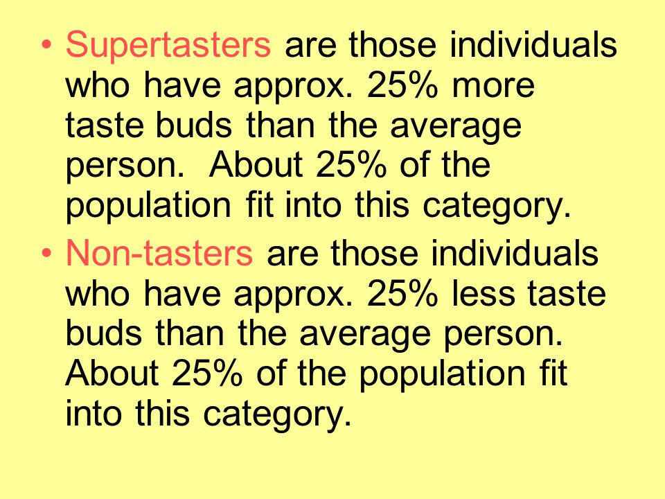 Supertasters are those individuals who have approx