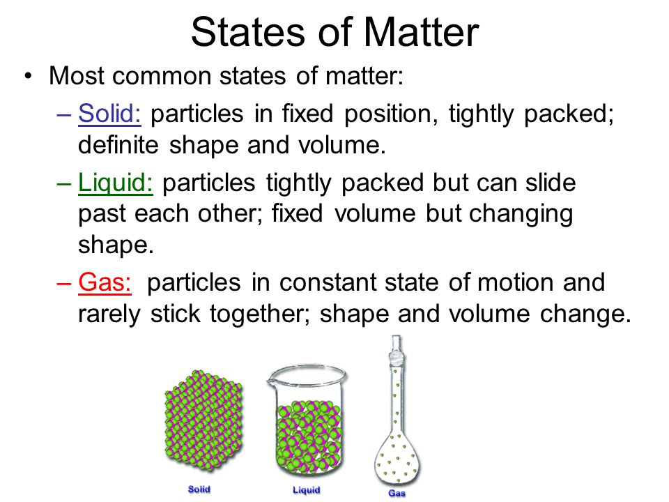 States of Matter Most common states of matter: