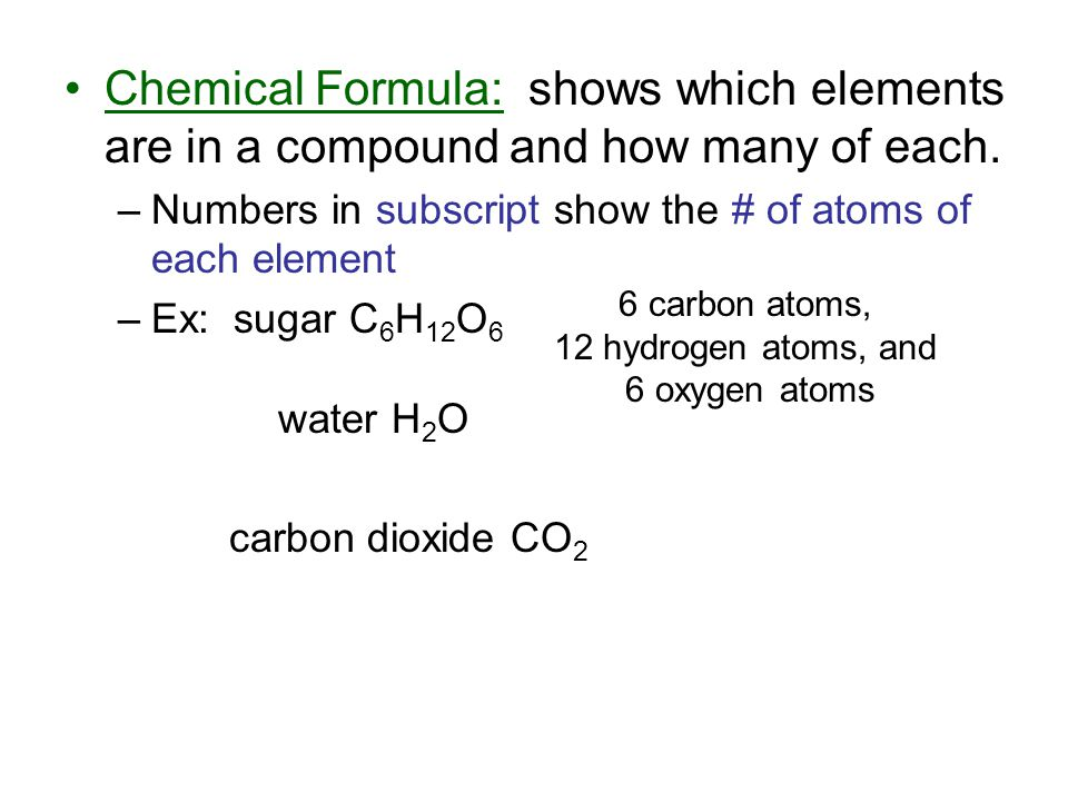 Chemical Formula: shows which elements are in a compound and how many of each.