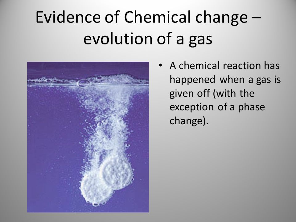 Evidence of Chemical change – evolution of a gas