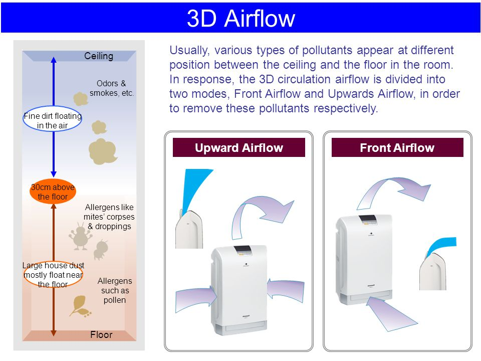 3D Airflow 30cm above. the floor. Large house dust mostly float near the floor. Fine dirt floating.