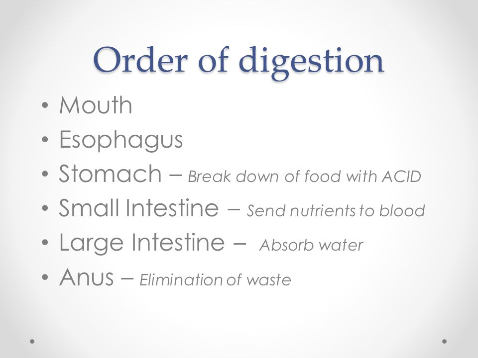 Order of digestion Mouth Esophagus