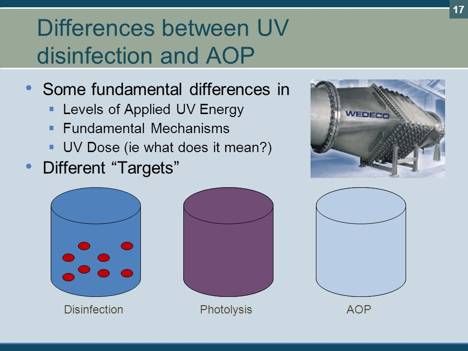 Differences between UV disinfection and AOP
