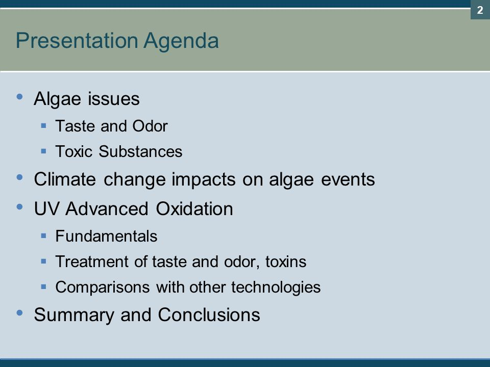 Presentation Agenda Algae issues