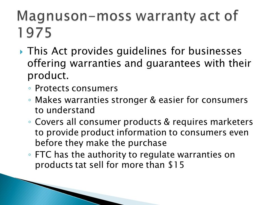 Magnuson-moss warranty act of 1975