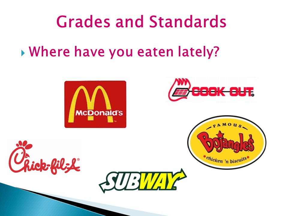 Grades and Standards Where have you eaten lately