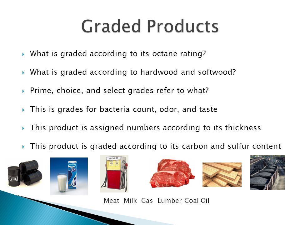 Meat Milk Gas Lumber Coal Oil