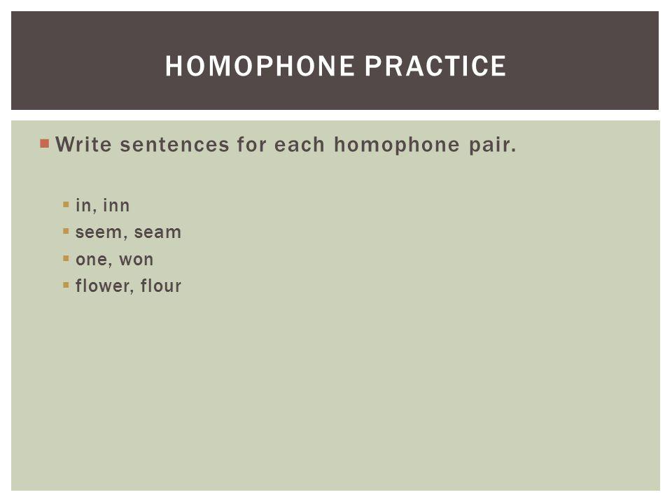 Homophone practice Write sentences for each homophone pair. in, inn