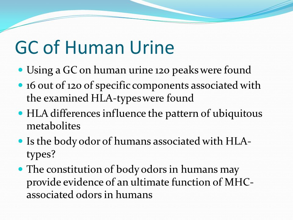 GC of Human Urine Using a GC on human urine 120 peaks were found