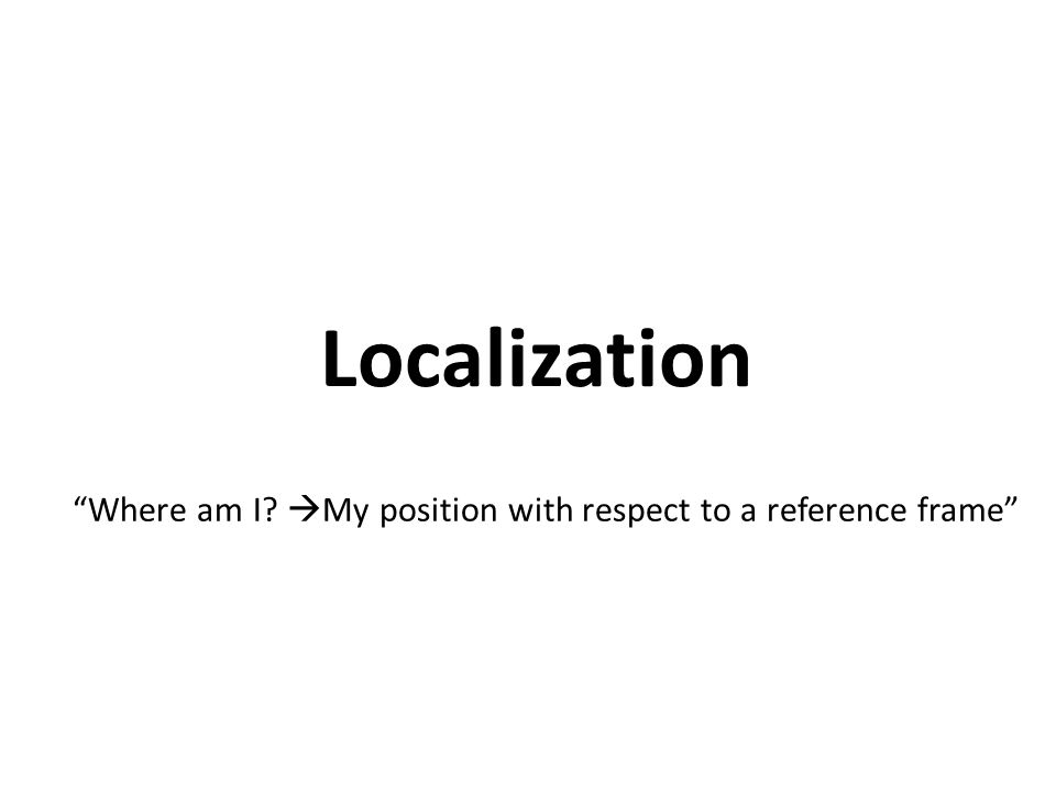 Localization Where am I My position with respect to a reference frame