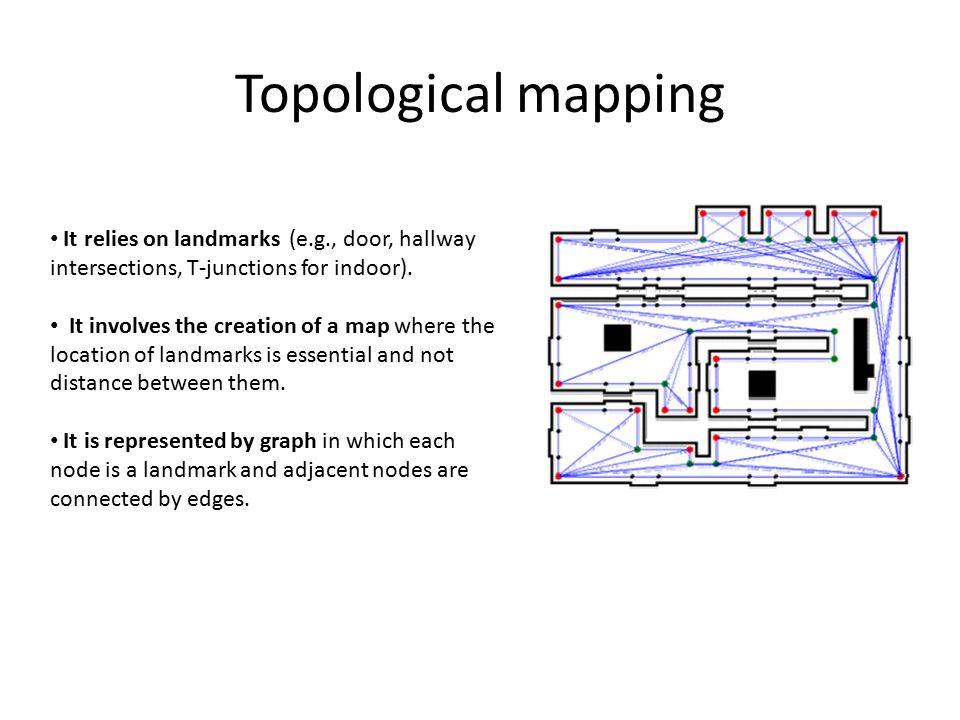 Topological mapping It relies on landmarks (e.g., door, hallway intersections, T-junctions for indoor).