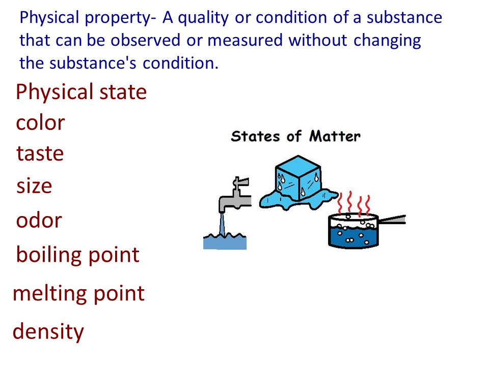 Physical state color taste size odor boiling point melting point