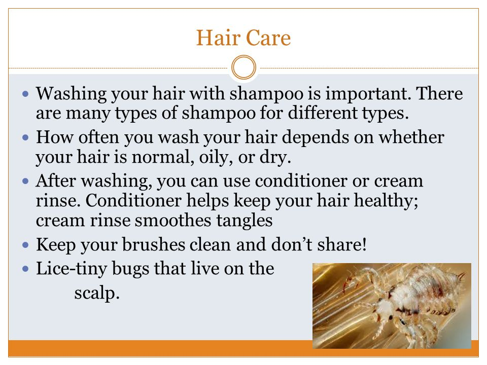Hair Care Washing your hair with shampoo is important. There are many types of shampoo for different types.
