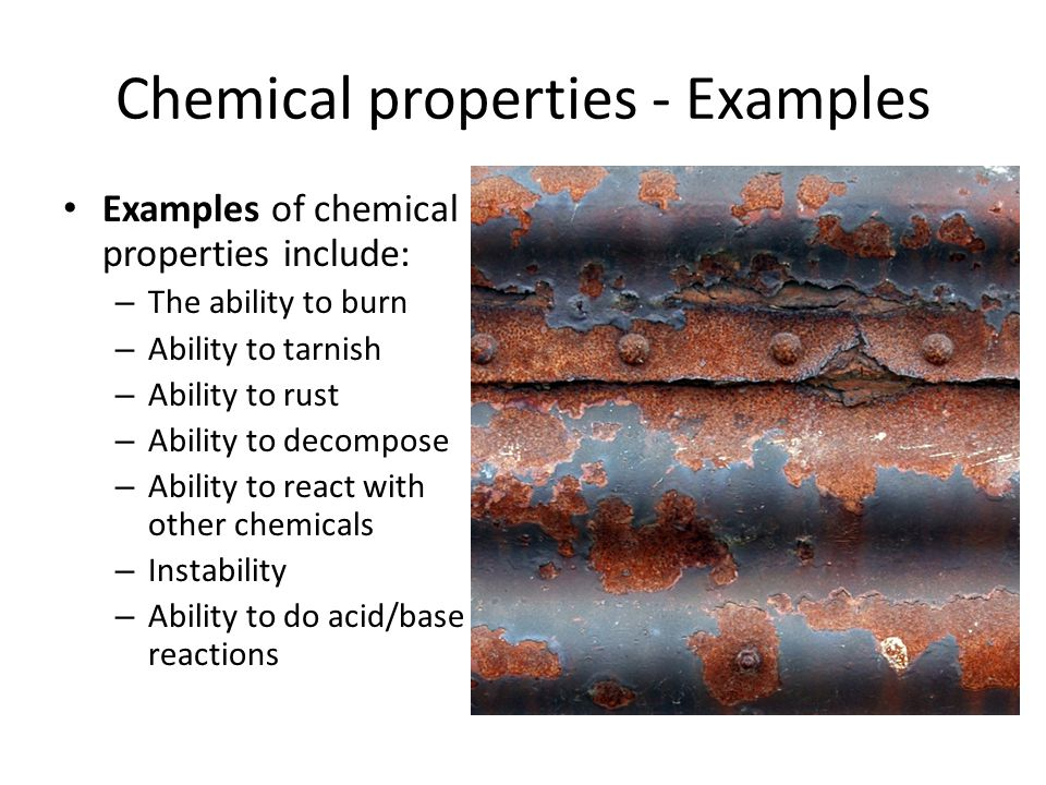 Chemical properties - Examples
