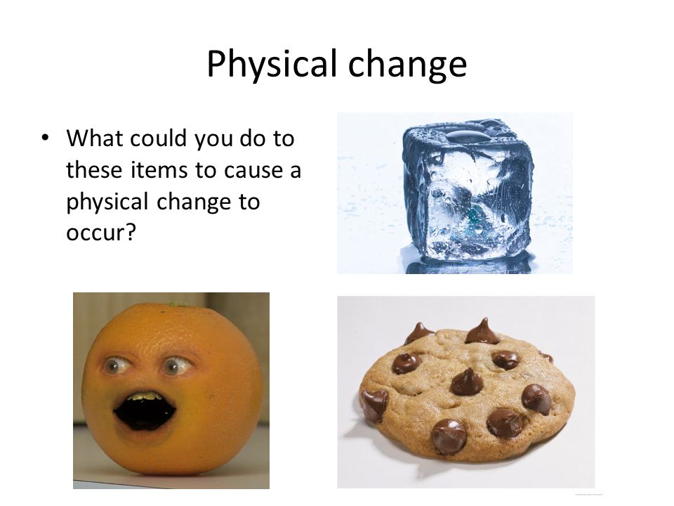 Physical change What could you do to these items to cause a physical change to occur