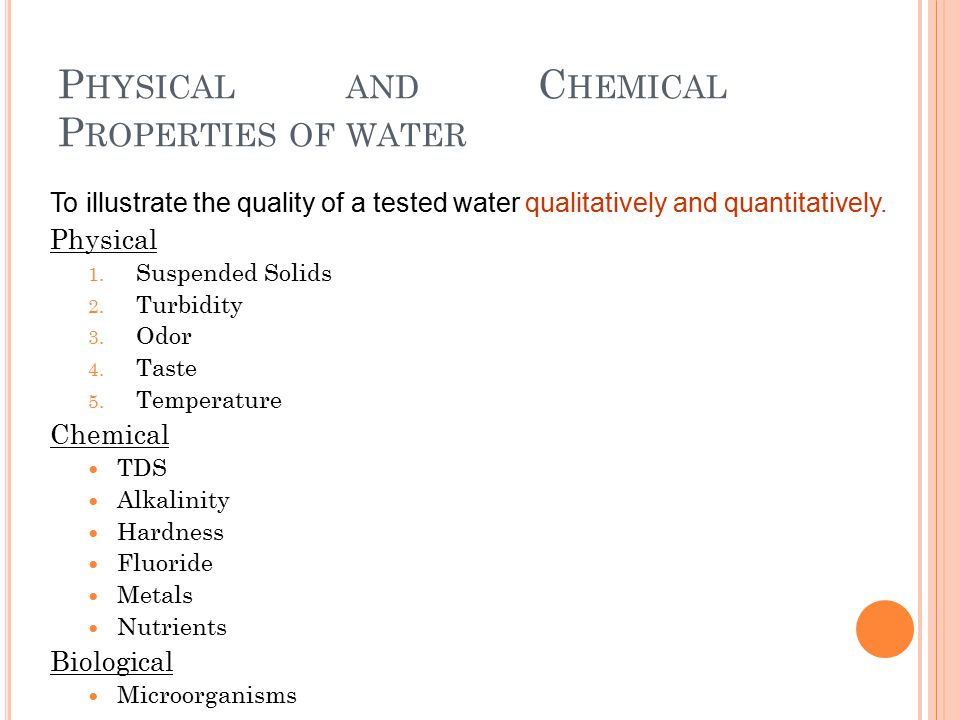 chemical properties of water