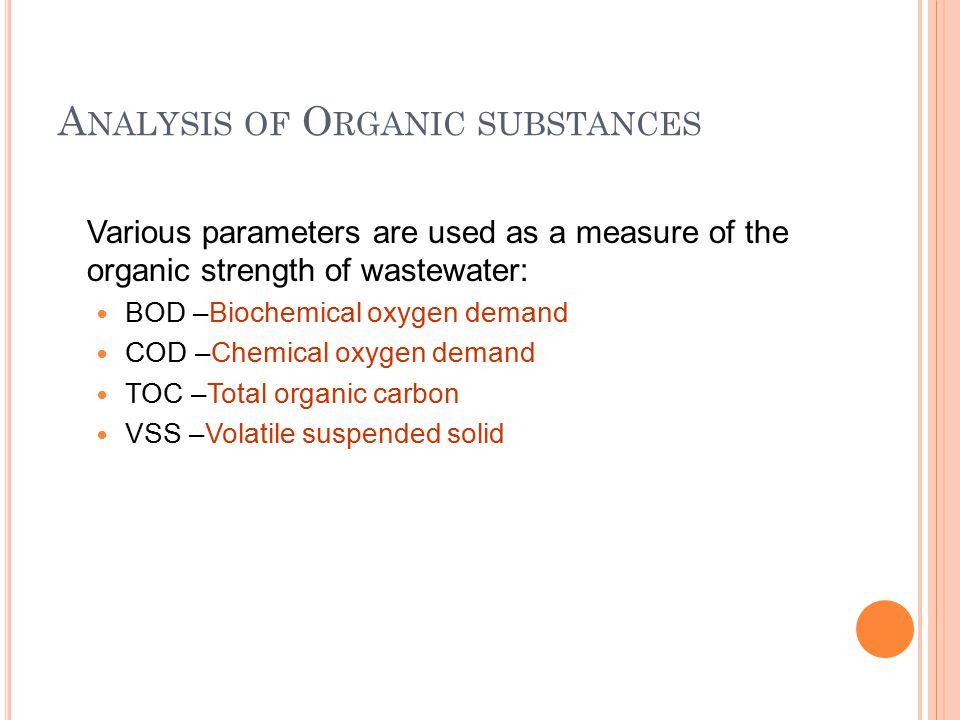 Analysis of Organic substances