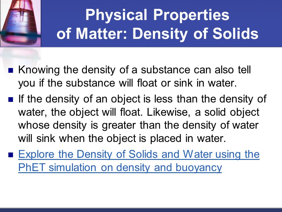Physical Properties of Matter: Density of Solids