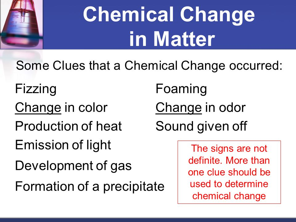 Chemical Change in Matter