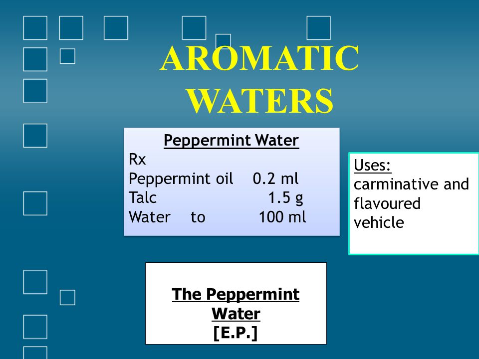 AROMATIC WATERS Peppermint Water Rx Peppermint oil 0.2 ml Uses: